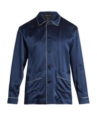 Meng - Blue Contrast-piping Silk-satin Pyjama Top for Men - Lyst