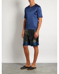 Meng - Blue Stretch Silk-satin T-shirt for Men - Lyst