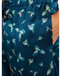 Meng - Blue Hummingbird-print Silk-satin Pyjama Shorts for Men - Lyst