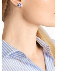 Bottega Veneta - Blue Enamel And Sterling-silver Earrings - Lyst