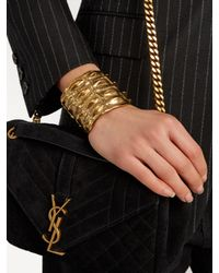 Saint Laurent - Metallic Opyum Crocodile-effect Cuff - Lyst