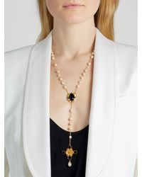 Dolce & Gabbana - White Crystal And Faux-pearl Necklace - Lyst