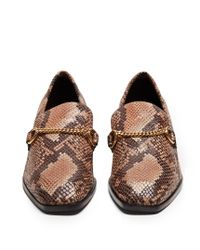 Stella McCartney - Brown Python-effect Faux-leather Block-heel Loafers - Lyst