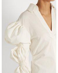 Jacquemus - White Puff-sleeve Cotton Mini Shirtdress - Lyst