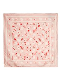 Alexander McQueen | Pink Sweetheart Skull-print Silk-twill Scarf | Lyst