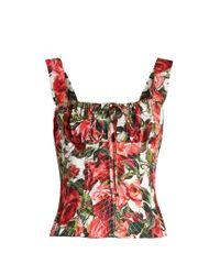 Dolce & Gabbana | Pink Rose-print Cotton-poplin Bustier Top | Lyst