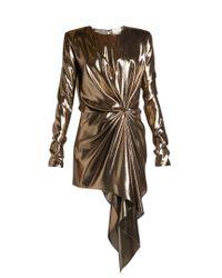 Saint Laurent | Metallic Gathered Draped-front Lamé Mini Dress | Lyst
