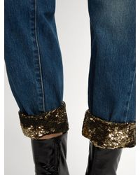Saint Laurent - Blue Sequin-hem Mid-rise Boyfriend Jeans - Lyst