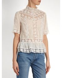 Rebecca Taylor - White High-neck Lace-trimmed Cotton-voile Top - Lyst