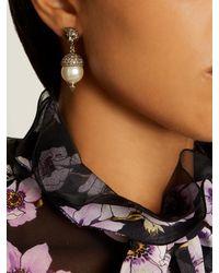 Gucci - Metallic Feline Pearl-effect Embellished Earrings - Lyst