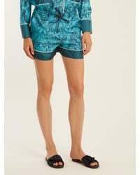 Mary Katrantzou - Blue Rook Dragon-print Silk-twill Shorts - Lyst