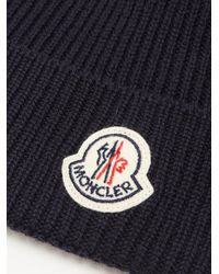 Moncler - Blue Ribbed-knit Beanie Hat for Men - Lyst