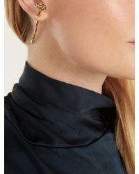 Saint Laurent - Metallic Rose Earring - Lyst