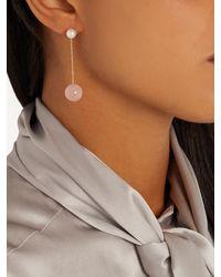 Delfina Delettrez | Multicolor Pearl, Rose-chalcedony & Yellow-gold Earring | Lyst