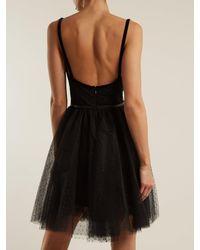 Elie Saab - Black Slash-neck Embellished Polka-dot Tulle Dress - Lyst