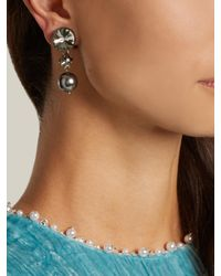 Miu Miu - Multicolor Faux-pearl And Crystal Clip-on Earrings - Lyst