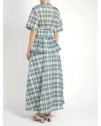 Rosie Assoulin - Green Boogie Woogie Checked-seersucker Dress - Lyst
