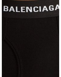Balenciaga - Black Set Of Three Ribbed-cotton Briefs for Men - Lyst