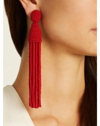 Oscar de la Renta - Red Bead-embellished Tassel-drop Clip-on Earrings - Lyst