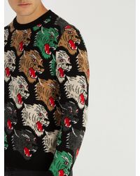 Gucci - Multicolor Panther Face Wool Sweater for Men - Lyst