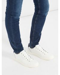Dolce & Gabbana - White Contrast-heel Low-top Leather Trainers for Men - Lyst