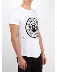 Balmain - White Circular Logo-print Distressed Cotton T-shirt for Men - Lyst