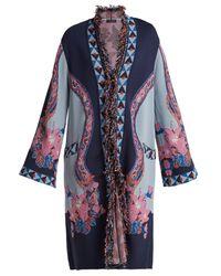 Etro - Blue Fringed Floral Jacquard-knit Cardigan - Lyst