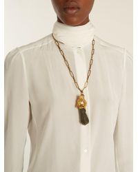 Prada - Gray Crystal-embellished Panther Necklace - Lyst