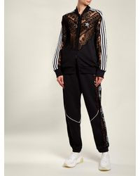 Stella McCartney - Black Lace Insert Stripe Trimmed Track Pants - Lyst