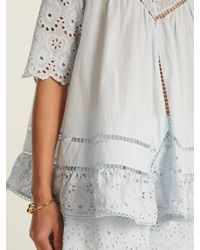 Zimmermann - Blue Caravan Embroidered Cotton And Silk-blend Top - Lyst