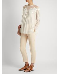 Chloé - Natural Lace-trimmed Gathered Silk-georgette Blouse - Lyst