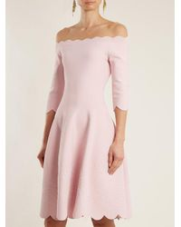 Alexander McQueen - Pink Off-the-shoulder Matelassé Dress - Lyst