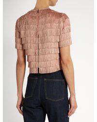 Raey | Blue Short-sleeved Fringed Top | Lyst