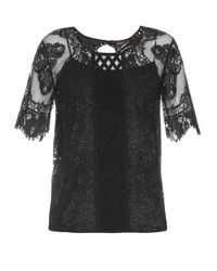Burberry Prorsum - Black Round-neck Contrast-lace Top - Lyst