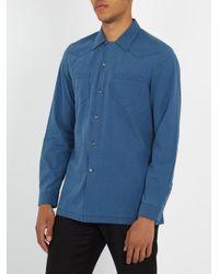 Maison Margiela - Blue Half-zip Panel Point-collar Cotton Shirt for Men - Lyst