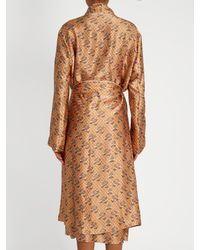 Katie Eary - Natural Snake-print Silk-satin Dressing Gown - Lyst