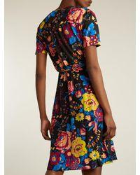 Diane von Furstenberg - Black Bournier Floral-print Silk Wrap Dress - Lyst