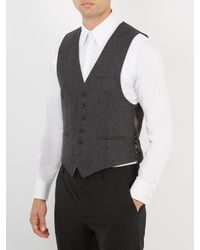 Alexander McQueen - Black Contrast-panel Wool Waistcoat for Men - Lyst