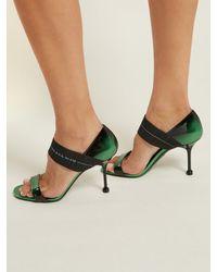 Prada - Black Logo-strap Patent-leather Sandals - Lyst