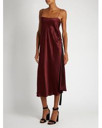 Ellery - Multicolor Tony Ruched-side Silk-satin Slip Dress - Lyst