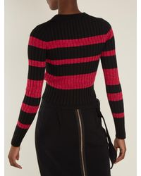 Proenza Schouler - Multicolor Long-sleeved Striped Wool-blend Cropped Sweater - Lyst