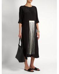 Zeus + Dione - Black Melia Fringed Silk Crepe De Chine Dress - Lyst