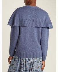 Chloé - Blue Iconic Cape-overlay Cashmere Sweater - Lyst