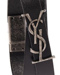 Saint Laurent - Black Monogram Leather Bracelet for Men - Lyst