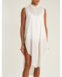 Mes Demoiselles - White Sleeveless Dobby-dot Long-line Shirt - Lyst