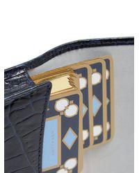 Smythson - Blue Mara Crocodile-effect Leather Bridge Card Case for Men - Lyst