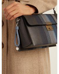 Bottega Veneta - Blue Intrecciato Leather Knot Key Ring - Lyst
