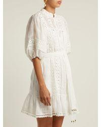 Zimmermann - White Castile Flower Lace Trimmed Voile Dress - Lyst