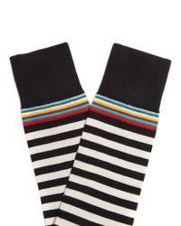 Paul Smith - Black Contrasting-striped Cotton-blend Socks for Men - Lyst