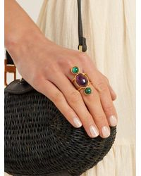 Sylvia Toledano - Purple Amethyst And Malichite Gold-plated Ring - Lyst
